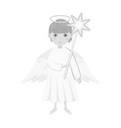 Angel with a star single icon in monochrome style vector
