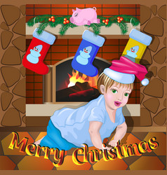 baby near the fireplace on christmas night vector image