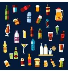 Beverages and drinks flat icons set vector
