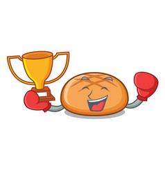 boxing winner hamburger bun mascot cartoon vector image