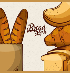 Bread fresh baguette in paper bag toasts whole vector