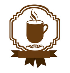 Brown border heraldic decorative ribbon with mug vector