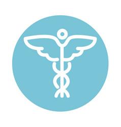 Caduceus medical symbol health care block style vector