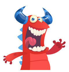 Cartoon portrait of yelling red monster dragon vector
