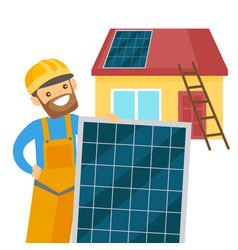Caucasian white constructor installing solar panel vector