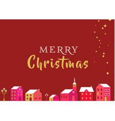 christmas greeting card with winter village and l vector image