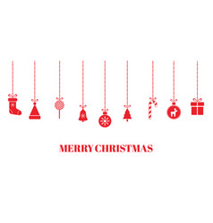 christmas red baubles on transparent background vector image