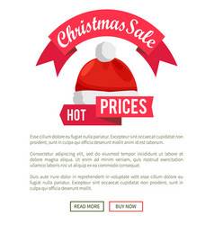 christmas sale promo label with santa claus hat vector image