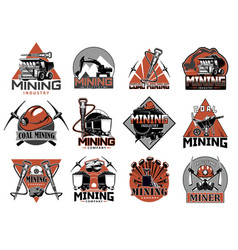 coal mining industry isolated icons set vector image