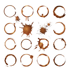 Coffee circles dirty rings splashes and drops vector
