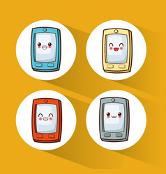 collection kawaii cellphone cute vector image