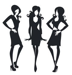 collection of fashionable girls images vector image