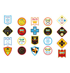 Colorful set of ski logos ski patrol rental skiing vector
