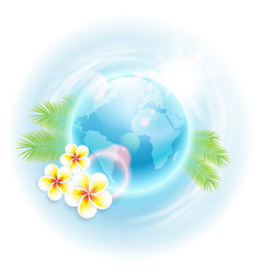 Concept travel with globe flowers vector