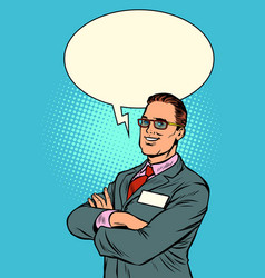 confident businessman says comic bubble vector image