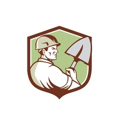 Construction Worker Spade Crest Retro vector image