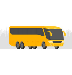 Corner view bus on road with city background vector