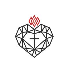 Cross jesus inside diamond vector