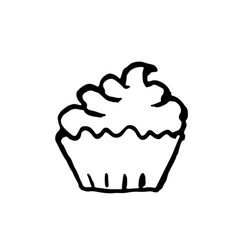 cup cake icon grunge ink vector image