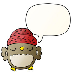 cute cartoon owl in hat and speech bubble vector image