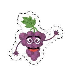 cute grape raising character fruit cut line vector image
