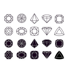 diamonds icons geometric jewelry symbols shapes vector image