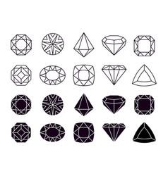 diamonds icons geometric jewelry symbols shapes vector image