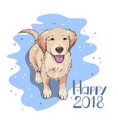 dog watching snowflakes happy new 2018 year vector image
