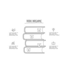 doodle books infographic with 4 options hand vector image