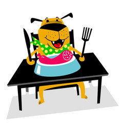 eating dog a cheerful dog sits at a table and vector image