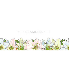 Endless border of hand-drawn lily flowers vector