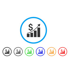 financial growth bar chart rounded icon vector image