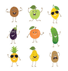 funny fruits and vegetables with hands kicking vector image vector image