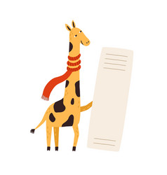 funny giraffe in scarf holding empty banner cute vector image