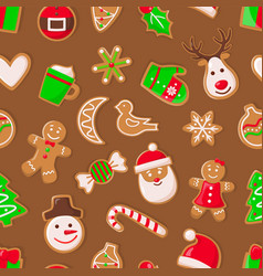 gingerbread man and santa claus reindeer and candy vector image