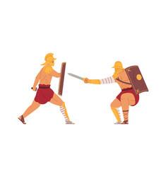 Gladiators fight ancient roman warriors battle vector
