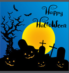 Halloween night background with pumpkin and full vector