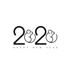happy new year 2020 rat logo text design vector image