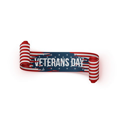 Happy veterans day scroll ribbon vector