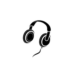 headphones icon black on white background vector image