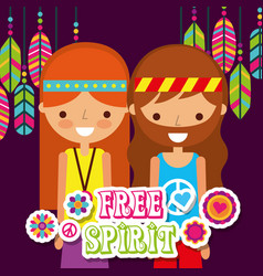 Hippie woman and man with feathers vintage free vector