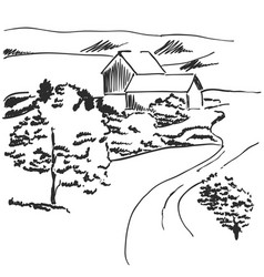 Image landscape with fields and house vector