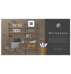 Interior design Modern workspace background 7 vector