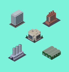 Isometric building set of water storage warehouse vector