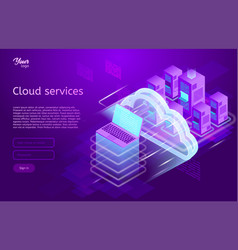 Isometric cloud computing services concept vector