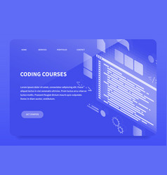 isometric concept landing page coding courses vector image