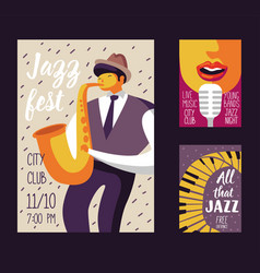Jazz music festival poster template flyer placard vector