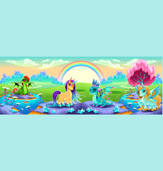 Landscape of dreams with fantasy animals vector