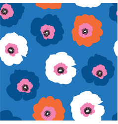 large red white and blue flowers seamless vector image