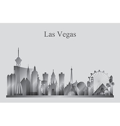 Las Vegas city skyline silhouette in grayscale vector